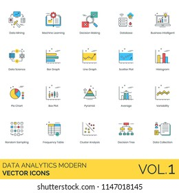Data analytics modern vector icons. Mining, machine learning, decision making, database, business intelligent, bar graph, scatter plot, histogram, pie chart, pyramid, variability, frequency table.