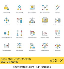 Data analytics modern vector icons. Cleaning, modeling, determine object, science system, prediction, IT department, statistics, database architecture, software developer, algorithms, secure backup.