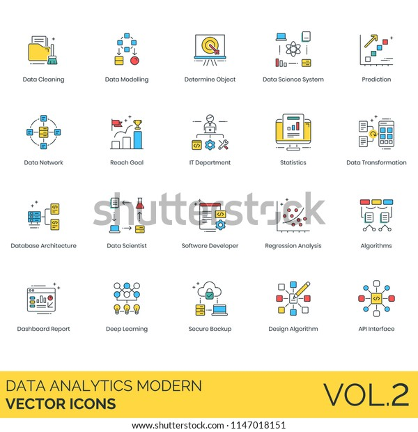 Data Analytics Modern Vector Icons Cleaning Stock Vector