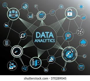 data analytics network background, data analytics icons