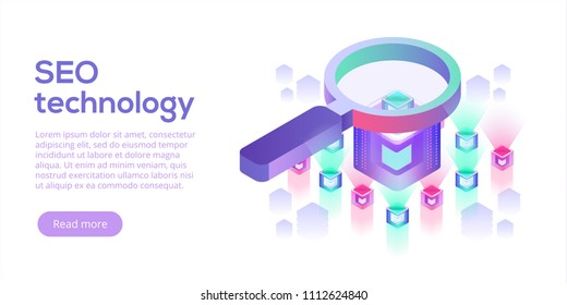 Data analytics platform isometric vector illustration. Abstract 3d hosting server or data center room background. Network or mainframe infrastructure website layout. Computer storage or workstation.