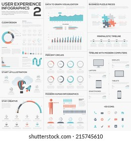 Data analytics vector infographics with clean trendy flat design