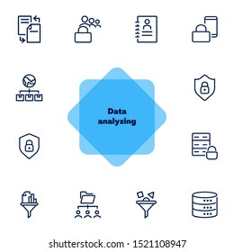 Data analyzing line icon set. Lock, database, shield, filter. Information technology concept. Can be used for topics like data storage, protection, security