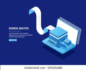 Data archivation, information bloks, cloud storage, electronic filing concept, laptop with electron billing system isometric vector
