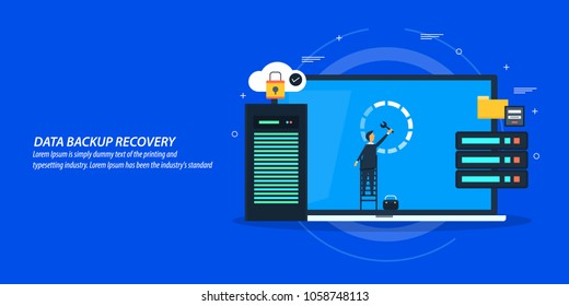 Data backup, recovery, storage, Data security flat style vector banner with icons