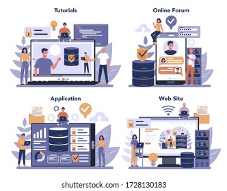 Data base administrator online service or platform set. Female and male character working at data center. Online vodeo tutorial, forum, website, application. Isolated vector illustration