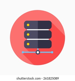 Data base flat icon with long shadow on blue circle background , vector illustration , eps10