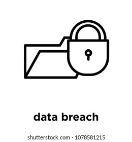 data breach icon isolated on white background, vector illustration, data breach logo concept