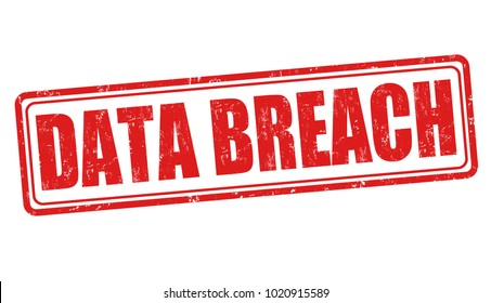 Data breach sign or stamp on white background, vector illustration