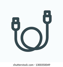Data cable outline icon, usb data transfer cable adapter vector icon