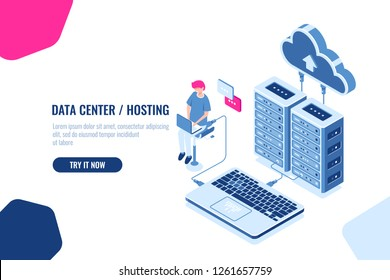Data calculation and auditing isometric, engineer working with cloud storage, server room, datacenter and database icon. Flat color vector illustration