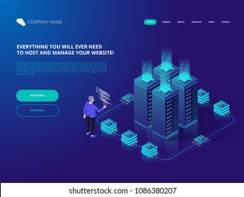 Data Center Cloud Computer Connection Hosting Server Database. Mainframe, powered server, high technology concept. Isometric vector illustration