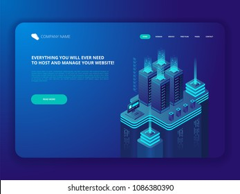 Data Center Cloud Computer Connection Hosting Server Database Synchronize Technology Vector isometric Illustration
