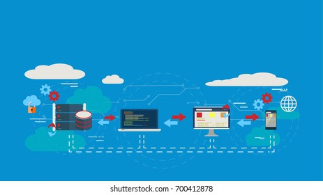 Data Center Cloud Computer Connection Hosting Server Database Synchronize Technology Vector Illustration