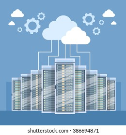 Data Center Cloud Connection Hosting Server Computer Information Database Synchronize Technology Flat Vector Illustration
