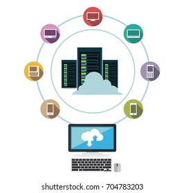 Data center. Cloud storage. Data sharing. Data download or upload concept.