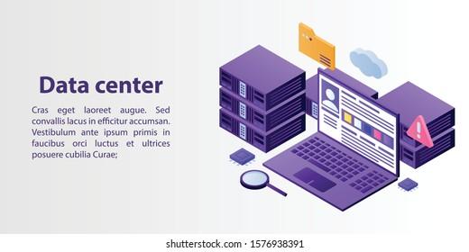 Data center concept banner. Isometric illustration of data center vector concept banner for web design