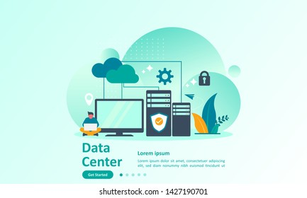 Data Center concept, cloud Computer Connection to server center with people character, Suitable for web landing page, ui, mobile app, banner template. Vector Illustration