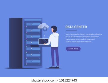 Data center concept. Flat style vector illustration with text place.
