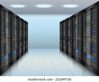 Data center concept with network servers database computer hardware room vector illustration