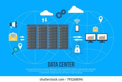Data center creative concept. Vector illustration for presentation, banner, web