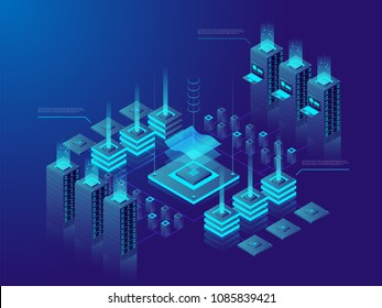Data center or cryptocurrency market. A large group of networked computer servers typically used by organizations for the remote storage, processing, or distribution of large amounts of data. Vector