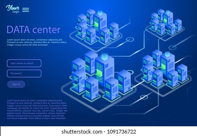 Data center design concept. Isometric vector illustration in ultraviolet colors. Cloud and data storage services. Server room.