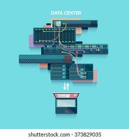 Data center. Flat design.