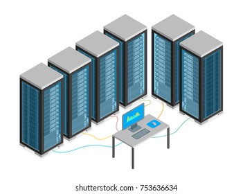 Data Center with Furniture and Equipment Isometric View Server Computer Room Workplace Elements Isolated on White Background. Vector illustration of Database