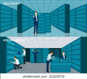 Data center horizontal banner set with hosting servers elements isolated vector illustration