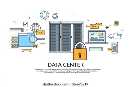 Data Center Hosting Server Computer Device Information Database Technology Banner Thin Line Vector Illustration