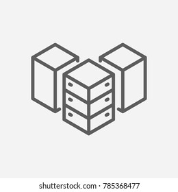 Data center icon line symbol. Isolated vector illustration of database sign concept for your web site mobile app logo UI design.