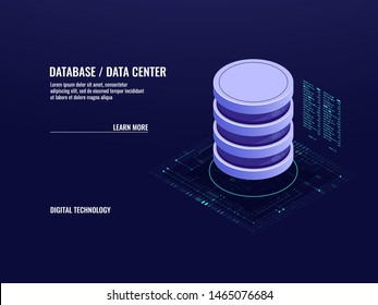 Data center isometric icon, database and cloud data storage concept, server room, accumulation of information, cloud computing, 3d vector illustration