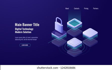 Data center, isometric icon data security concept, lock protection, technology access control, network dark neon vector