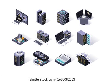 Data center isometric icons set. Servers equipment, mining station, super computer and network routers. Computer technology, cloud network and database platform, hosting service 3d vector isometry.