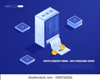 Data center, mining crypto currency hardware, server room, coin, computer processing power, database isometric 3d vector