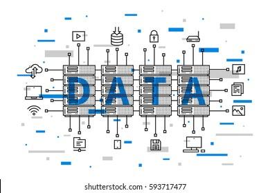 Data center network technology vector illustration. Internet server equipment line art creative concept. Hosting (cloud, datacenter) hardware graphic design. Network database infrastructure system.