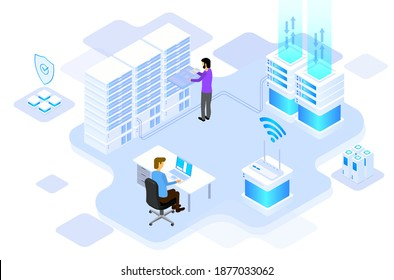Data center or server room processing, data operation with security protection and maintenance with isometric design style - vector