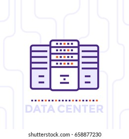 data center, server room vector illustration