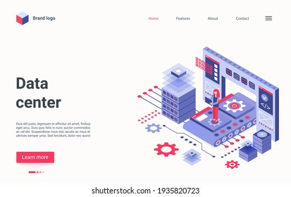 Data center technology isometric vector illustration. Cartoon 3d engineer admin character working with big workstation hardware equipment, database storage system, tech infrastructure landing page