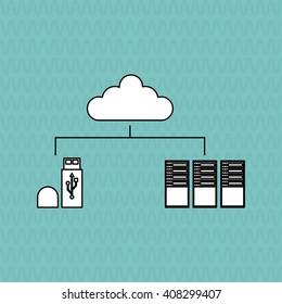 Data center and usb design , vector illustration