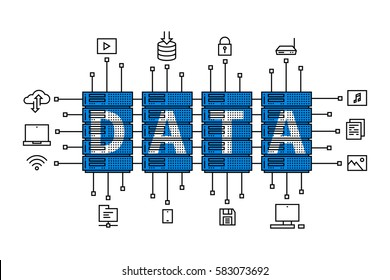 Data center vector illustration. Internet server equipment line art creative concept. Hosting (cloud, datacenter) hardware graphic design. Network database infrastructure system.