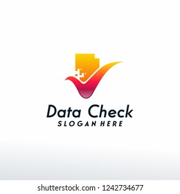 Data Check logo designs concept vector, Document Checklist logo template, Symbol logo