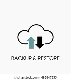 Data cloud icon. Backup and restore sign. Backup and restore data cloud. Upload to and download from data cloud. Internet traffic image.
