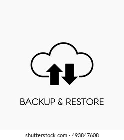 Data cloud icon. Backup and restore sign. Backup and restore data cloud. Upload to and download from data cloud.