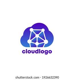 data in cloud logo, vector icon