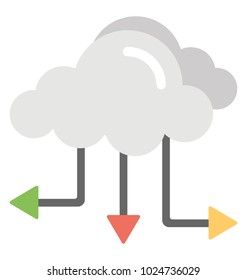 Data cloud network connection server flat design icon