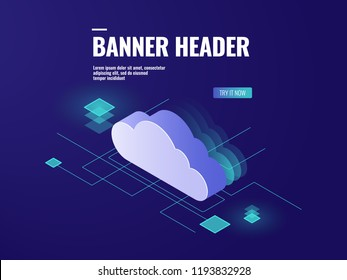 Data cloud storage technology isometric icon, server room, database and data center vector illustration