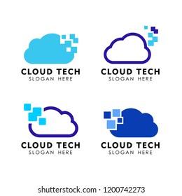 data cloud vector logo design. pixel cloud logo