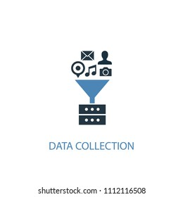 Data collection concept 2 colored icon. Simple blue element illustration. Data collection concept symbol design from big data set. Can be used for web and mobile UI/UX